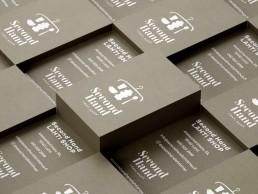 Käyntikortti kierrätyskartongille Second Hand Lahti Shop