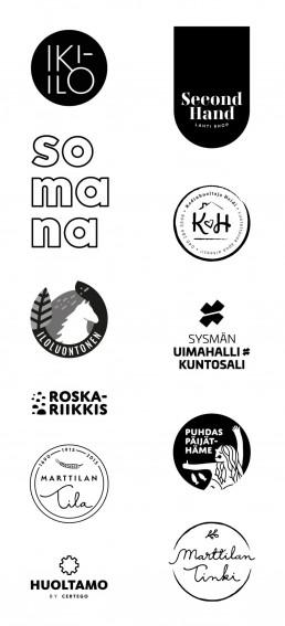 Suunnittelutoimisto Hoodin suunnittelemia logoja mustavalkoisena